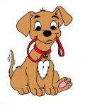 puppy with leash clipart